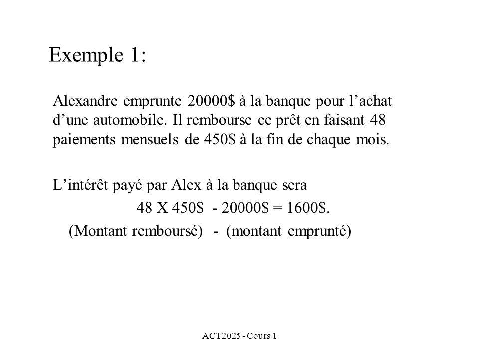 ACT2025 - Cours 1 Exemple 1: Alexandre emprunte 20000$ à la banque pour l'achat d'une automobile. Il rembourse ce prêt en faisant 48 paiements mensuel