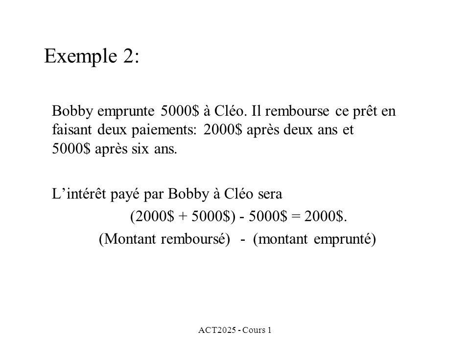 ACT2025 - Cours 1 Exemple 2: Bobby emprunte 5000$ à Cléo. Il rembourse ce prêt en faisant deux paiements: 2000$ après deux ans et 5000$ après six ans.