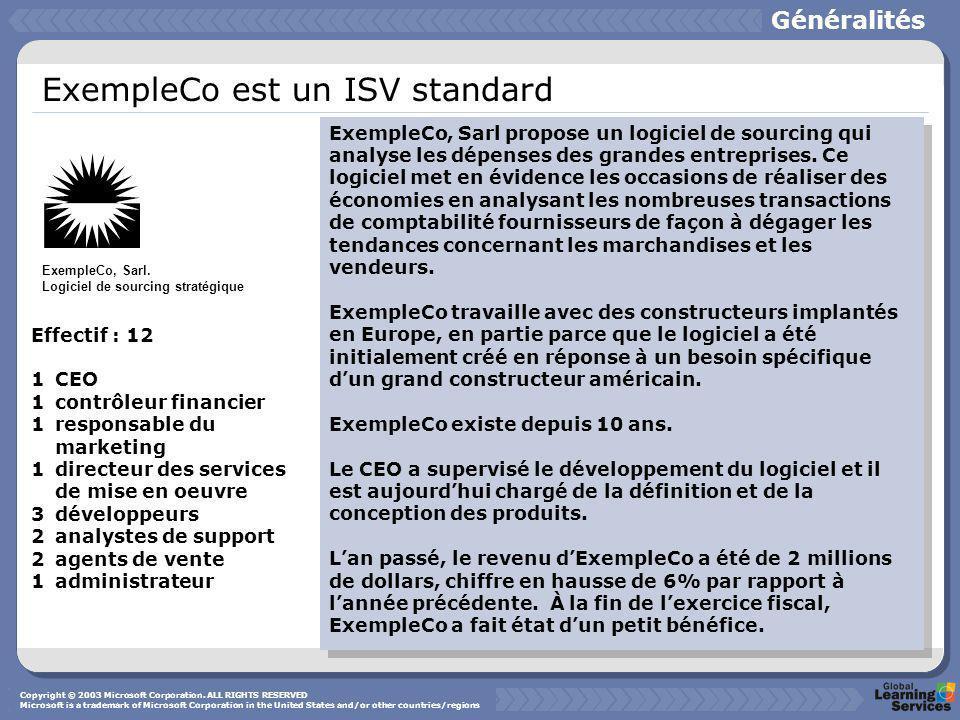 ExempleCo est un ISV standard ExempleCo, Sarl propose un logiciel de sourcing qui analyse les dépenses des grandes entreprises.