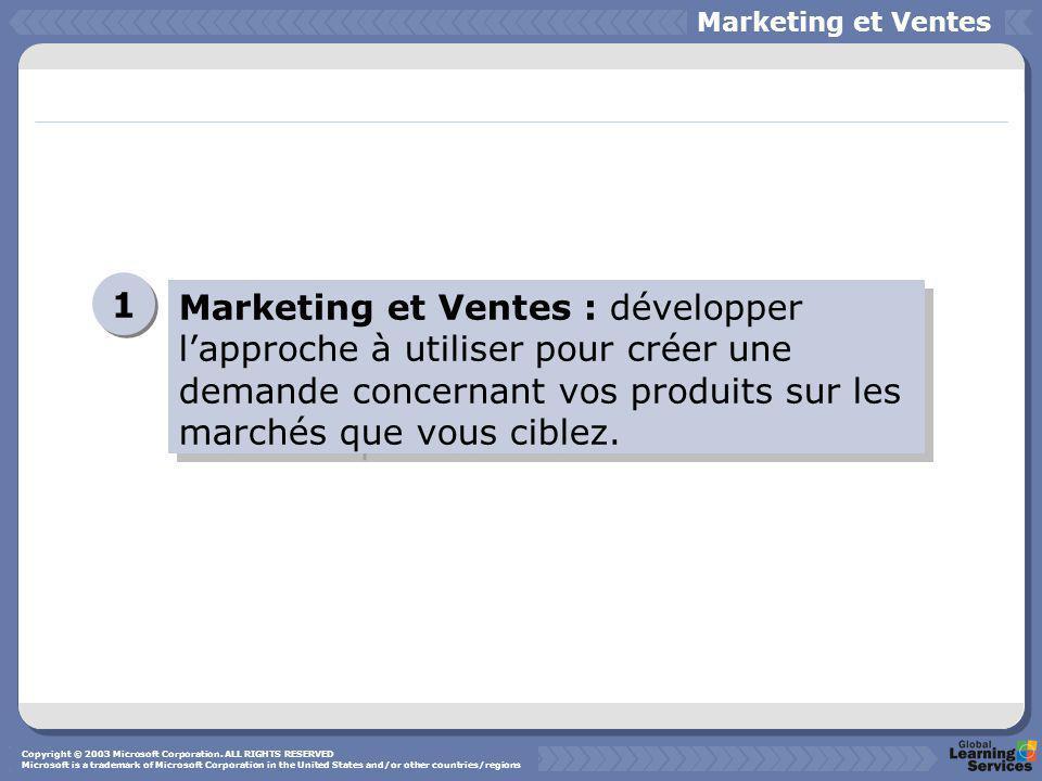 Marketing et Ventes : développer l'approche à utiliser pour créer une demande concernant vos produits sur les marchés que vous ciblez.