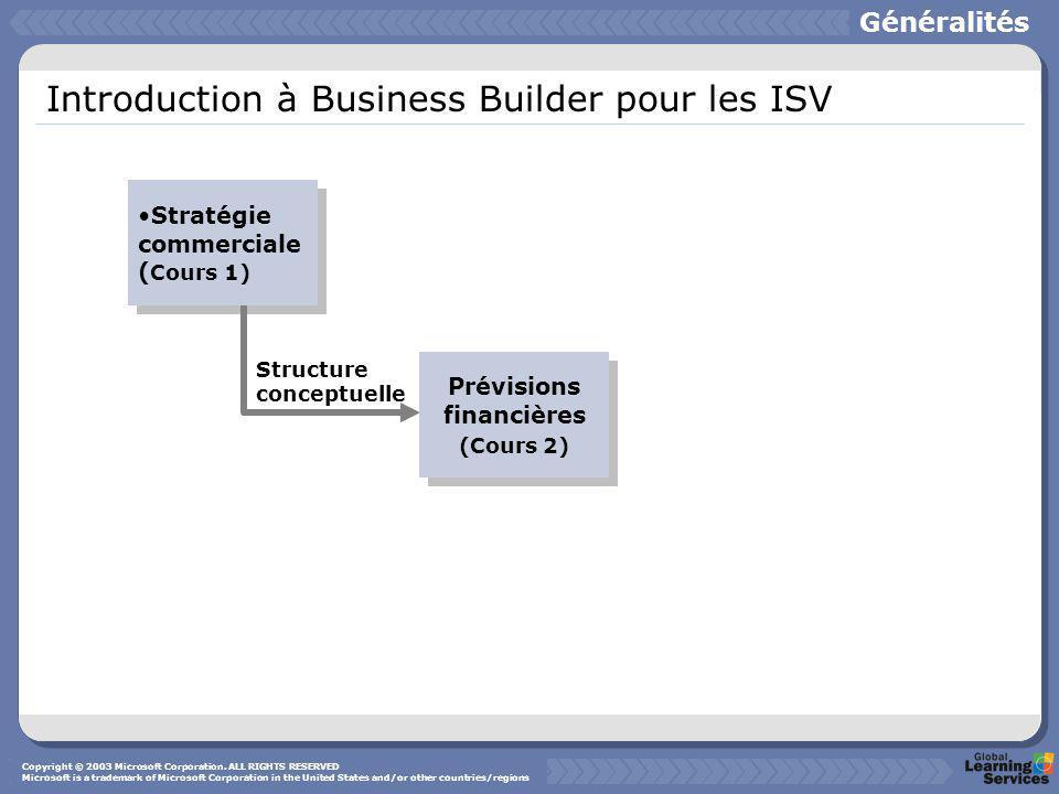 Introduction à Business Builder pour les ISV Structure conceptuelle Stratégie commerciale ( Cours 1) Prévisions financières (Cours 2) Prévisions financières (Cours 2) Généralités Copyright © 2003 Microsoft Corporation.