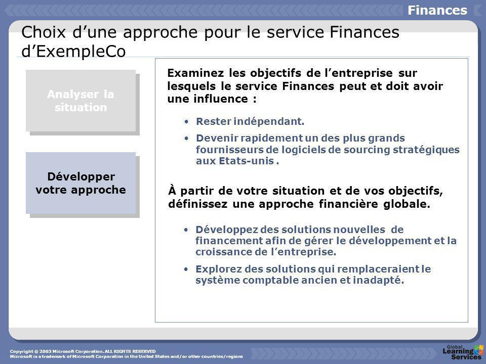 Choix d'une approche pour le service Finances d'ExempleCo Analyser la situation Développer votre approche Examinez les objectifs de l'entreprise sur lesquels le service Finances peut et doit avoir une influence : À partir de votre situation et de vos objectifs, définissez une approche financière globale.