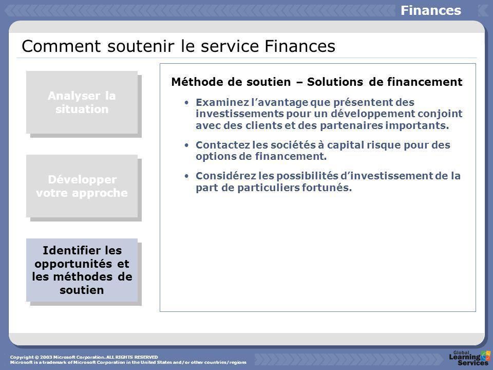 Comment soutenir le service Finances Méthode de soutien – Solutions de financement Examinez l'avantage que présentent des investissements pour un développement conjoint avec des clients et des partenaires importants.