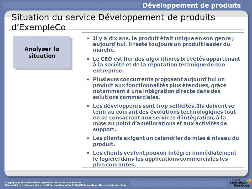Situation du service Développement de produits d'ExempleCo Analyser la situation Il y a dix ans, le produit était unique en son genre ; aujourd'hui, il reste toujours un produit leader du marché.