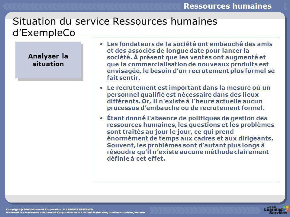Situation du service Ressources humaines d'ExempleCo Analyser la situation Les fondateurs de la société ont embauché des amis et des associés de longue date pour lancer la société.