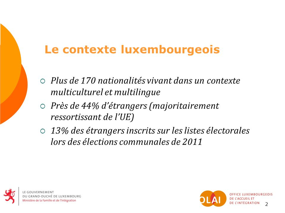 Le contexte luxembourgeois  Plus de 170 nationalités vivant dans un contexte multiculturel et multilingue  Près de 44% d'étrangers (majoritairement ressortissant de l'UE)  13% des étrangers inscrits sur les listes électorales lors des élections communales de 2011 2