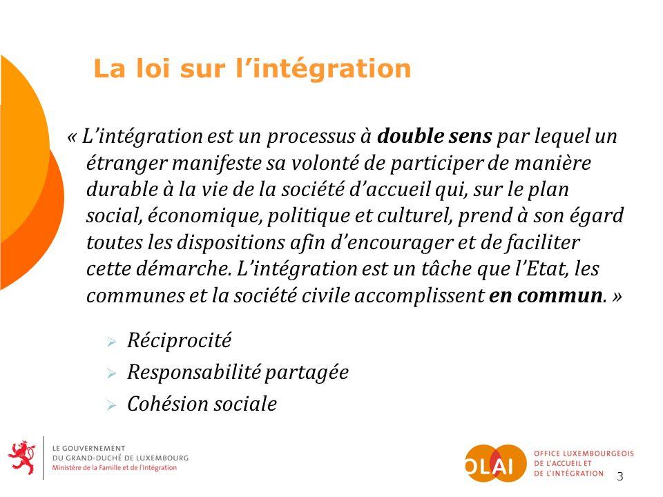 3 « L'intégration est un processus à double sens par lequel un étranger manifeste sa volonté de participer de manière durable à la vie de la société d'accueil qui, sur le plan social, économique, politique et culturel, prend à son égard toutes les dispositions afin d'encourager et de faciliter cette démarche.