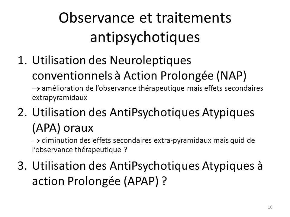 16 Observance et traitements antipsychotiques 1.Utilisation des Neuroleptiques conventionnels à Action Prolongée (NAP)  amélioration de l'observance