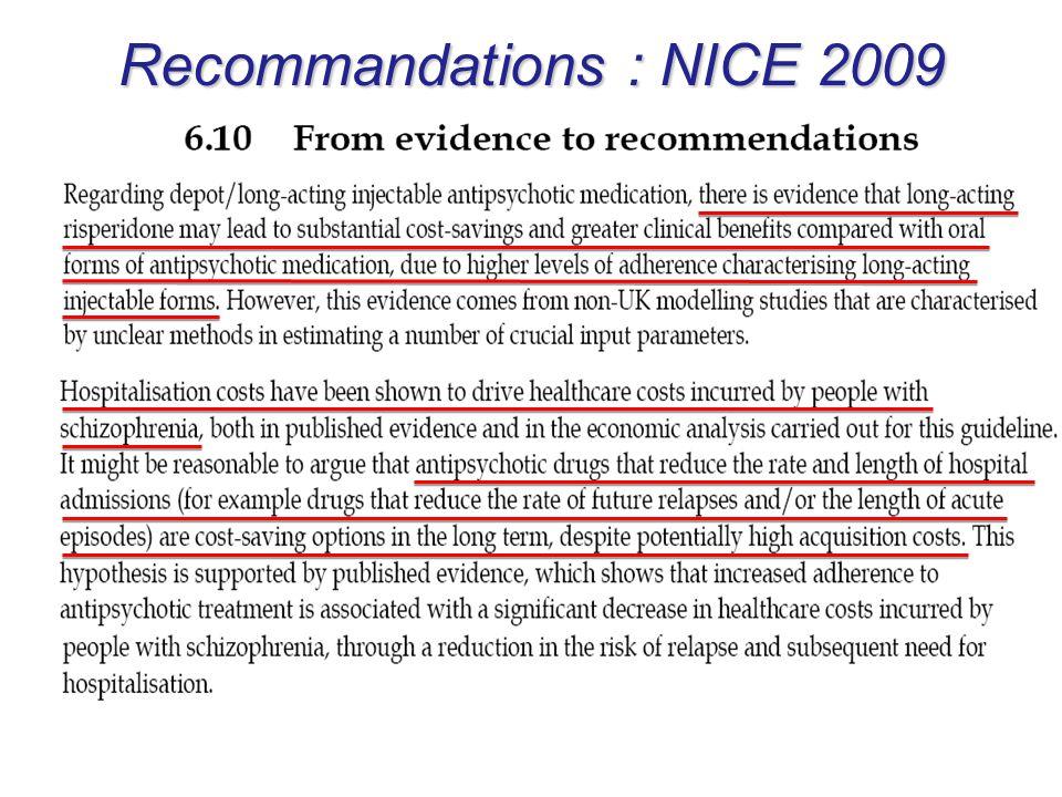 Recommandations : NICE 2009