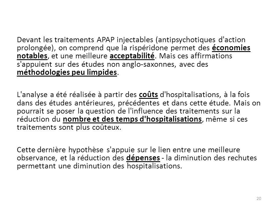 20 Devant les traitements APAP injectables (antipsychotiques d'action prolongée), on comprend que la rispéridone permet des économies notables, et une