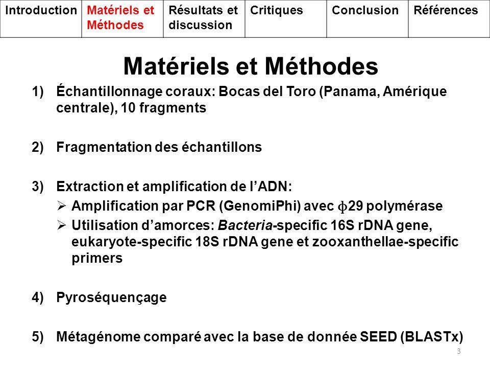Résultats et Discussion 4 Résultat du séquençage du métagénome Génome mitochondrial Phylogénie IntroductionMatériels et Méthodes Résultats et discussion CritiquesConclusionRéférences