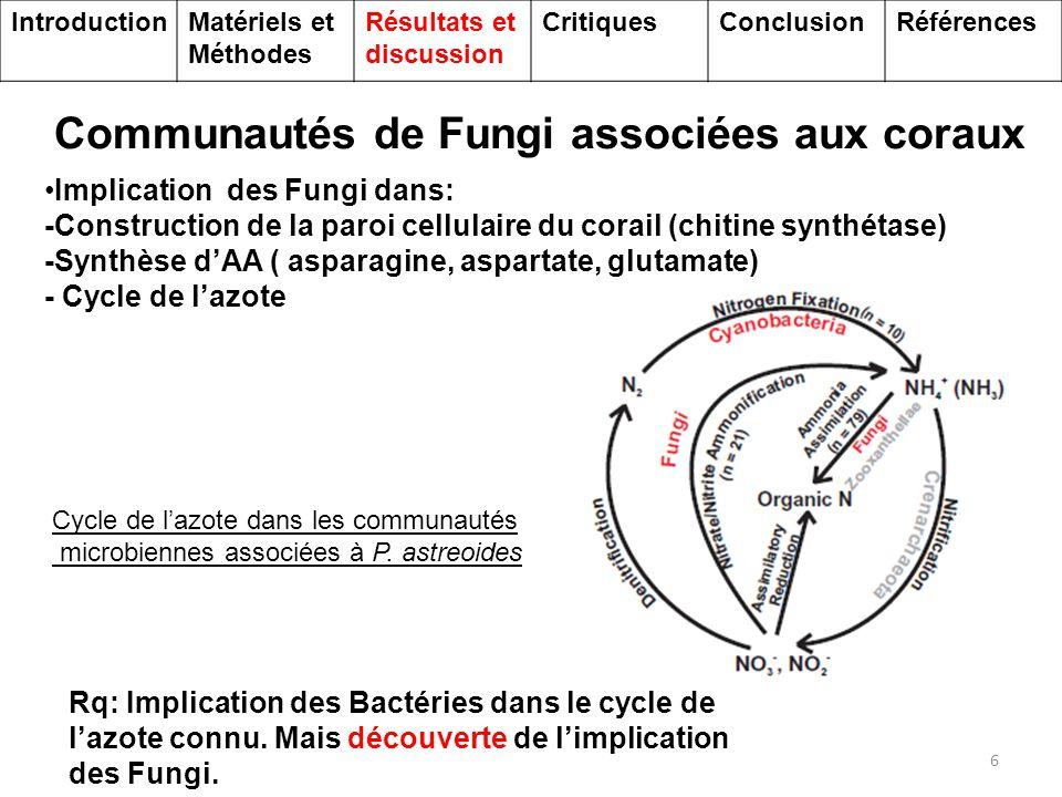 Communautés bactériennes associées aux coraux 7 Communautés bactériennes Principalement hétérotrophe: utilisation C, N et S provenant du corail (PA1) IntroductionMatériels et Méthodes Résultats et discussion CritiquesConclusionRéférences