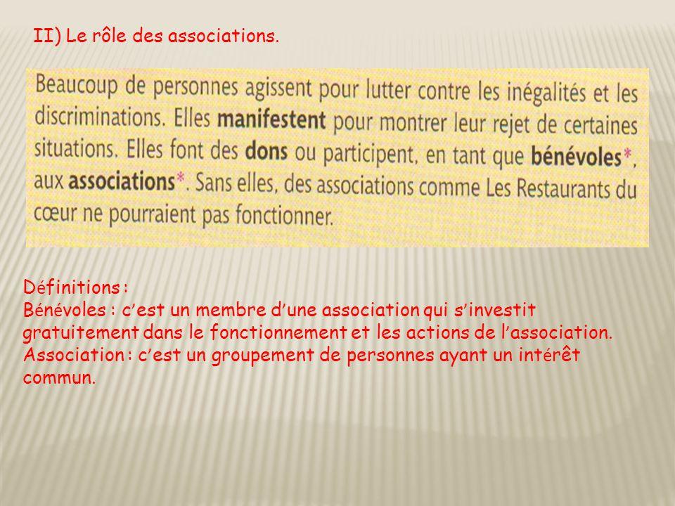 II) Le rôle des associations. D é finitions : B é n é voles : c ' est un membre d ' une association qui s ' investit gratuitement dans le fonctionneme
