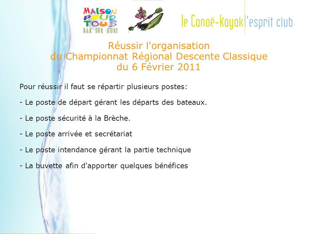 Réussir l organisation du Championnat Régional Descente Classique du 6 Février 2011 Pour réussir il faut se répartir plusieurs postes: - Le poste de départ gérant les départs des bateaux.