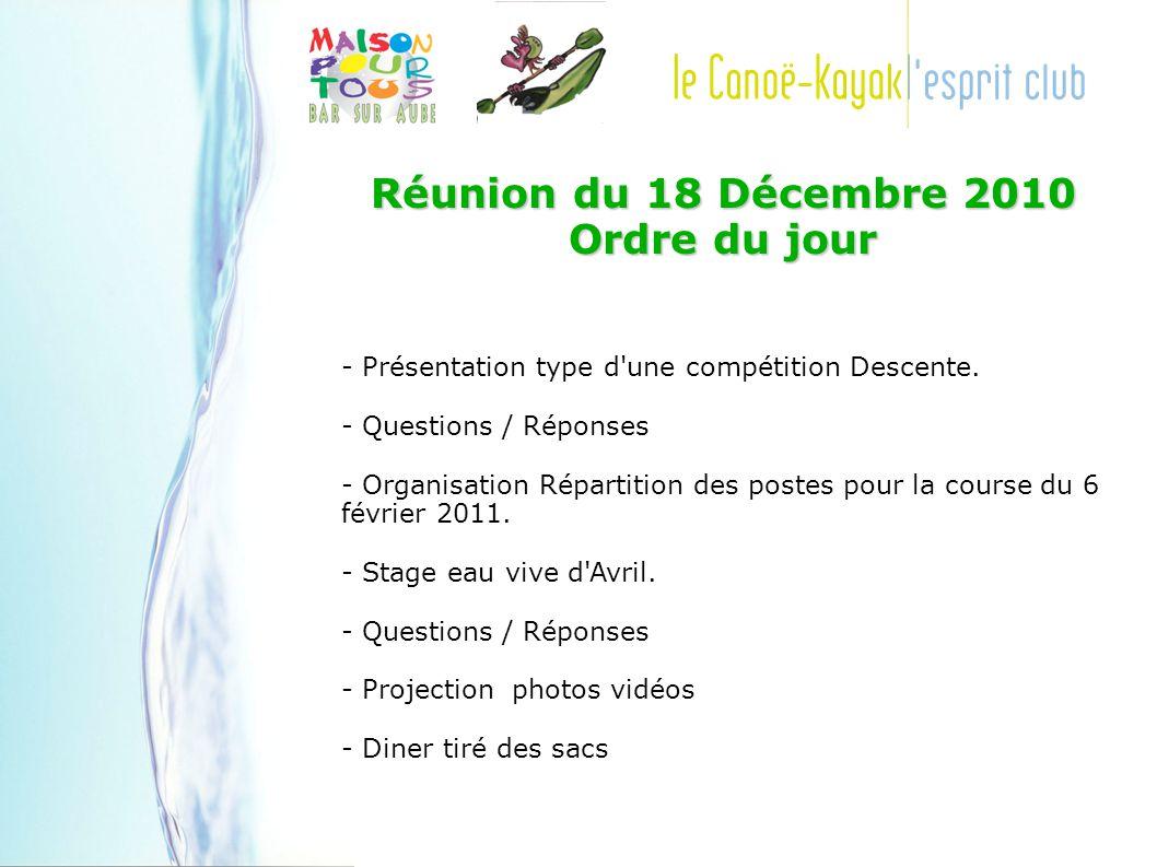 Réunion du 18 Décembre 2010 Ordre du jour - Présentation type d une compétition Descente.