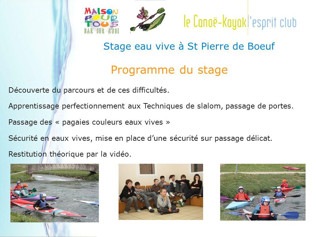 Stage eau vive à St Pierre de Boeuf Programme du stage Découverte du parcours et de ces difficultés.
