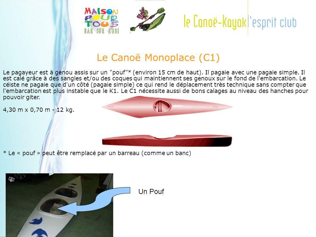 Le Canoë Monoplace (C1) Le pagayeur est à genou assis sur un pouf * (environ 15 cm de haut).