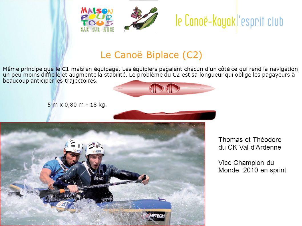 Le Canoë Biplace (C2) Même principe que le C1 mais en équipage.