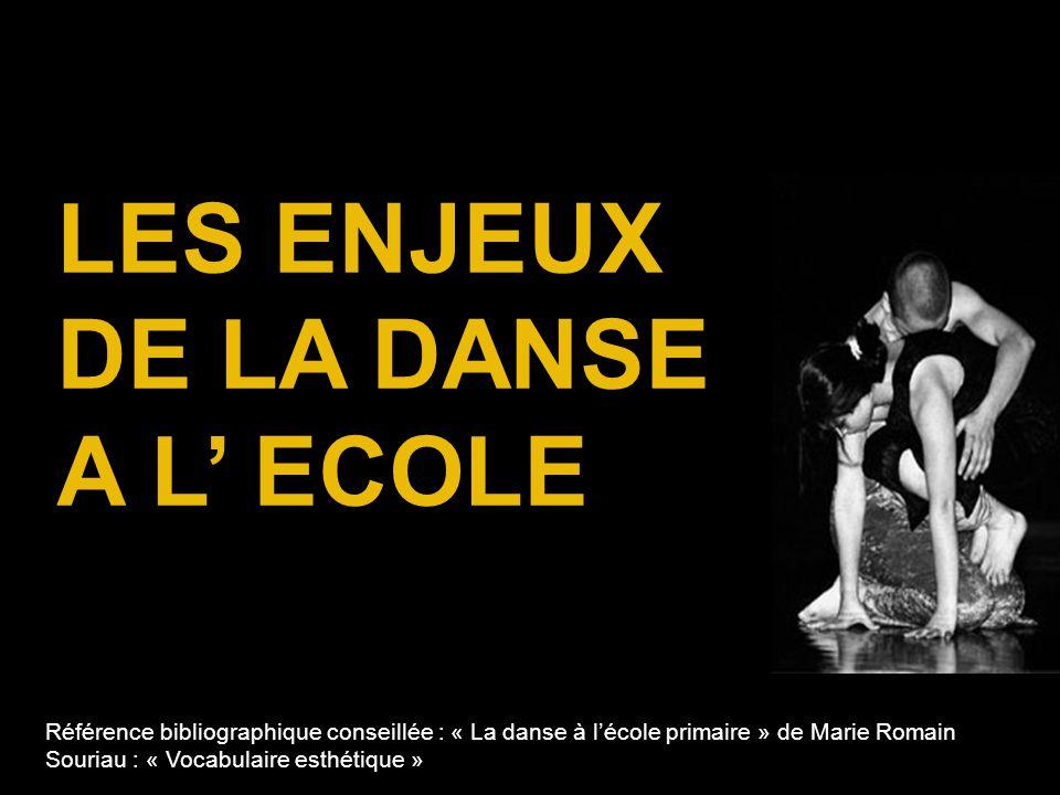 LES ENJEUX DE LA DANSE A L' ECOLE Référence bibliographique conseillée : « La danse à l'école primaire » de Marie Romain Souriau : « Vocabulaire esthé