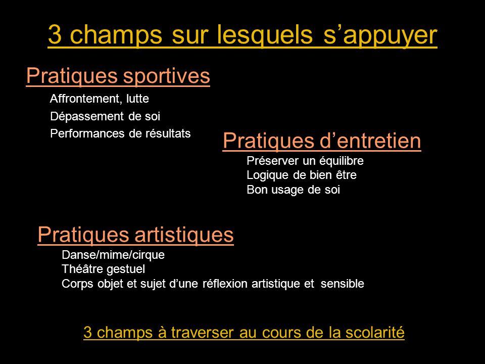 3 champs sur lesquels s'appuyer Pratiques sportives Affrontement, lutte Dépassement de soi Performances de résultats 3 champs à traverser au cours de