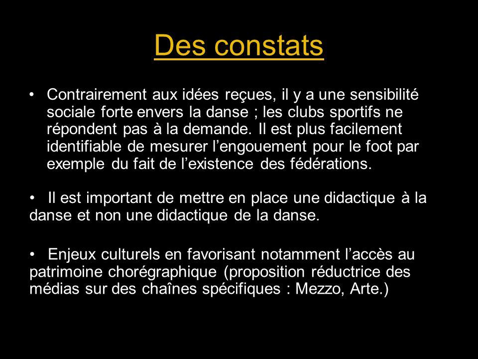 Des constats Contrairement aux idées reçues, il y a une sensibilité sociale forte envers la danse ; les clubs sportifs ne répondent pas à la demande.