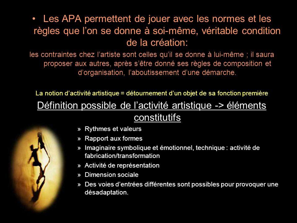 Les APA permettent de jouer avec les normes et les règles que l'on se donne à soi-même, véritable condition de la création: les contraintes chez l'art