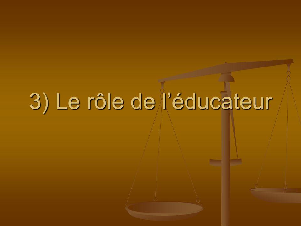 3) Le rôle de l'éducateur