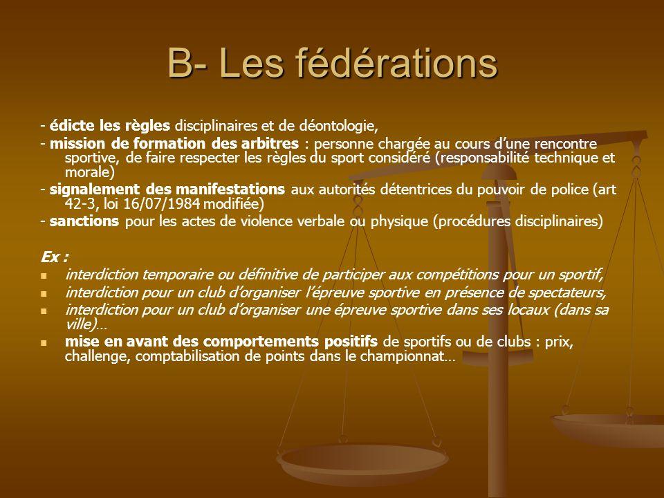 B- Les fédérations - édicte les règles disciplinaires et de déontologie, - mission de formation des arbitres : personne chargée au cours d'une rencont
