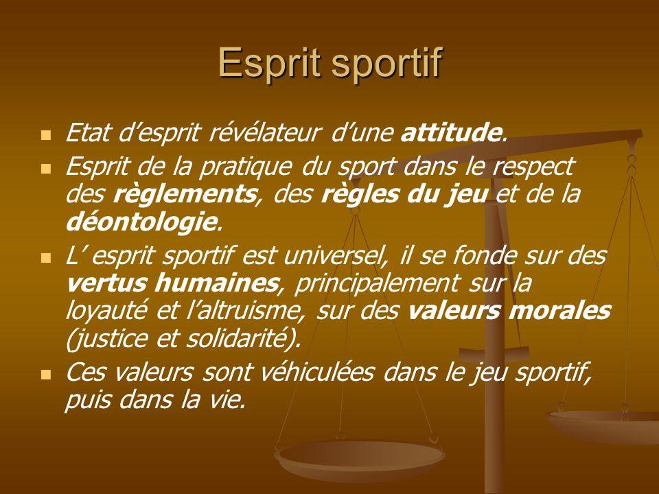 Esprit sportif Etat d'esprit révélateur d'une attitude. Esprit de la pratique du sport dans le respect des règlements, des règles du jeu et de la déon