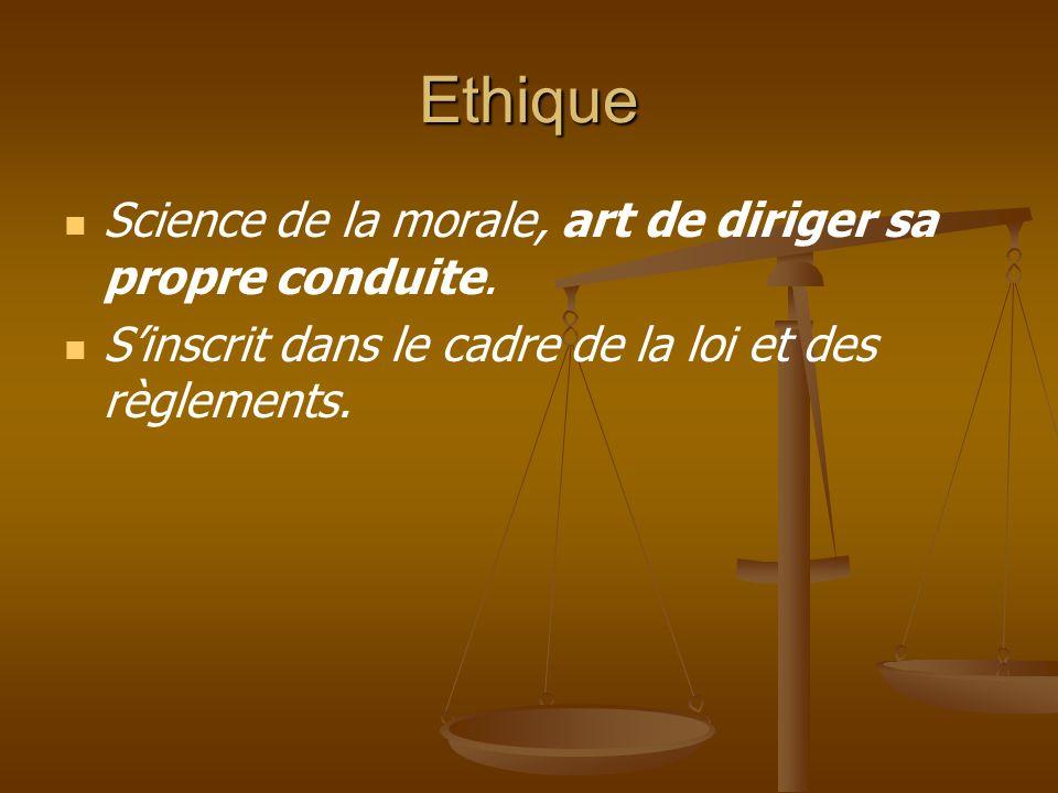 Ethique Science de la morale, art de diriger sa propre conduite. S'inscrit dans le cadre de la loi et des règlements.