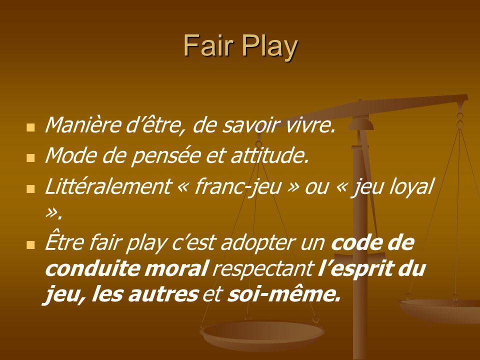 CODE DU SPORTIF (Association Française pour un Sport sans Violence et pour le Fair-Play : www.fairplay;asso;fr) Tout sportif s'engage à : - se conformer aux règles du jeu, - respecter les décisions de l'arbitre, - respecter les adversaires et les partenaires, - refuser toute forme de violence et de tricherie, - être maître de soi en toutes circonstances, - être loyal dans le sport et dans la vie, - être exemplaire, généreux et tolérant.