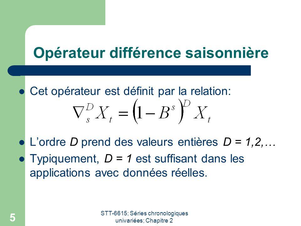 STT-6615; Séries chronologiques univariées; Chapitre 2 5 Opérateur différence saisonnière Cet opérateur est définit par la relation: L'ordre D prend d
