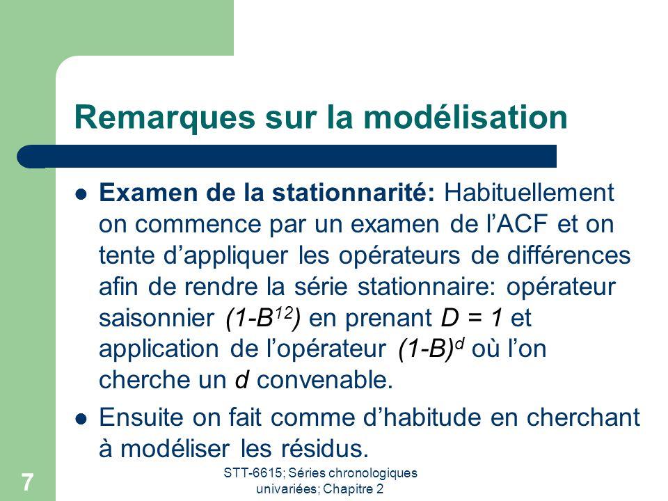 STT-6615; Séries chronologiques univariées; Chapitre 2 7 Remarques sur la modélisation Examen de la stationnarité: Habituellement on commence par un e