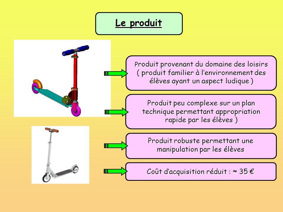 Le produit P roduit provenant du domaine des loisirs ( produit familier à l'environnement des élèves ayant un aspect ludique ) Produit peu complexe su