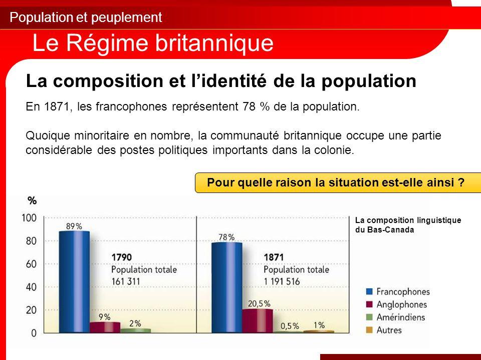 Population et peuplement Le Régime britannique La composition et l'identité de la population En 1871, les francophones représentent 78 % de la population.