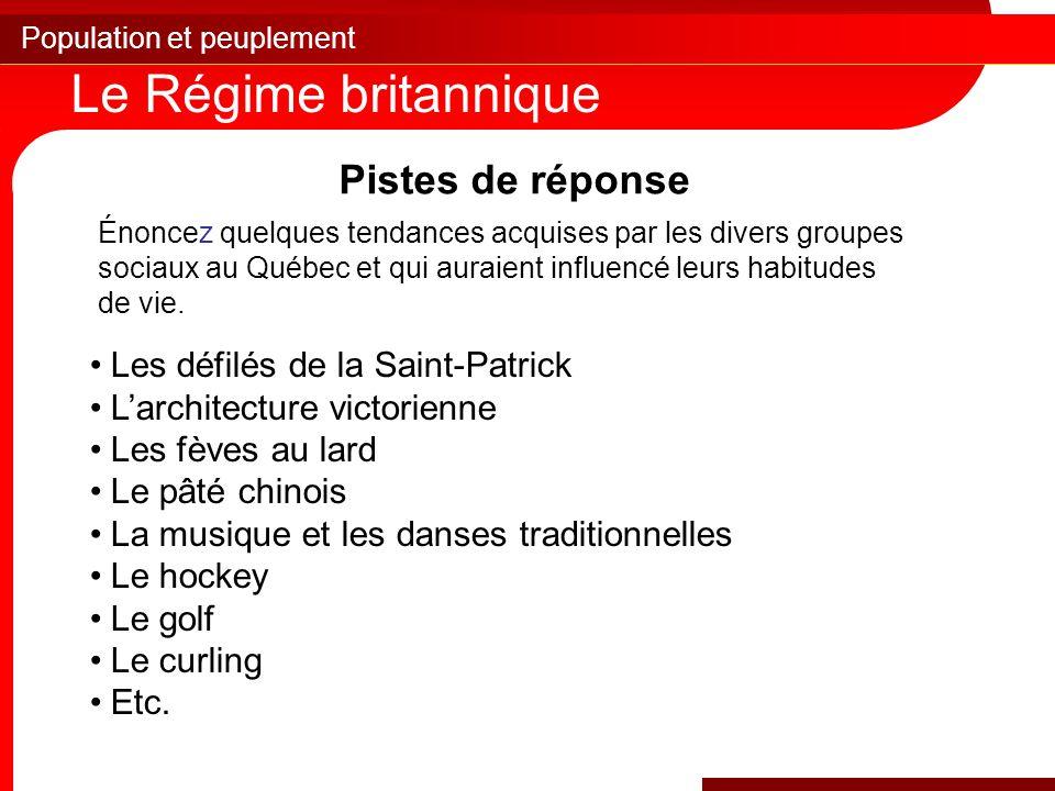 Population et peuplement Le Régime britannique Pistes de réponse Énoncez quelques tendances acquises par les divers groupes sociaux au Québec et qui auraient influencé leurs habitudes de vie.