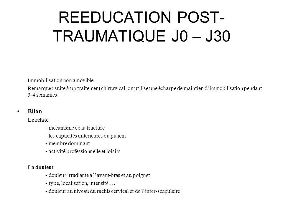 REEDUCATION POST- TRAUMATIQUE J0 – J30 Immobilisation non amovible. Remarque : suite à un traitement chirurgical, on utilise une écharpe de maintien d