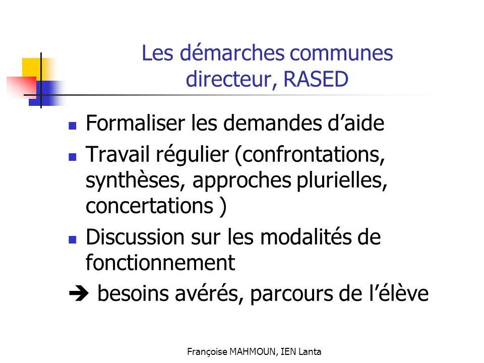 Françoise MAHMOUN, IEN Lanta Les démarches communes directeur, RASED Formaliser les demandes d'aide Travail régulier (confrontations, synthèses, appro