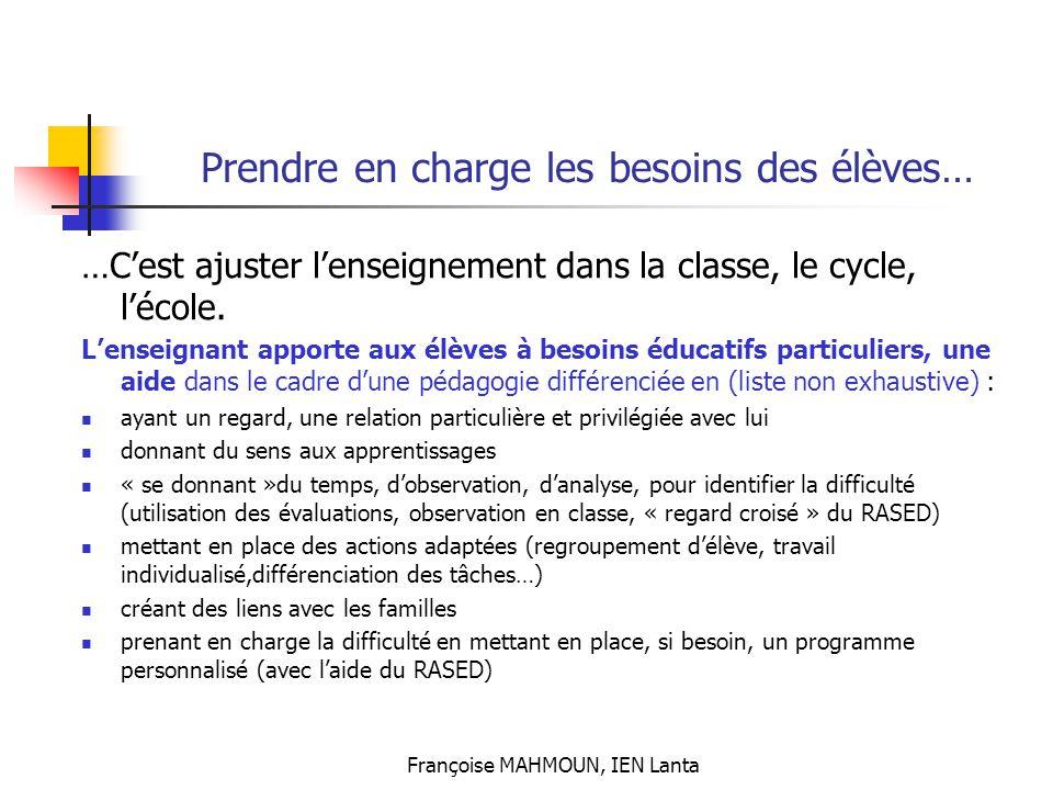 Françoise MAHMOUN, IEN Lanta Prendre en charge les besoins des élèves… …C'est ajuster l'enseignement dans la classe, le cycle, l'école. L'enseignant a