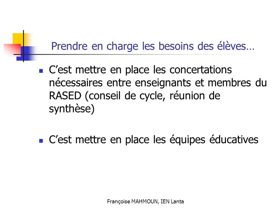 Françoise MAHMOUN, IEN Lanta C'est mettre en place les concertations nécessaires entre enseignants et membres du RASED (conseil de cycle, réunion de s