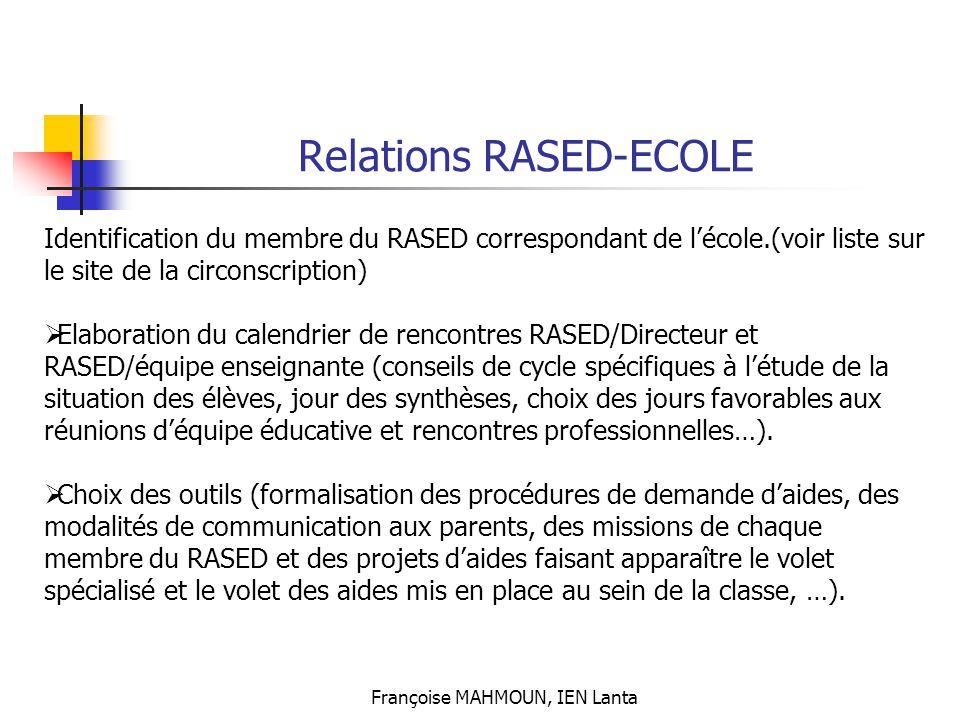 Françoise MAHMOUN, IEN Lanta Relations RASED-ECOLE Identification du membre du RASED correspondant de l'école.(voir liste sur le site de la circonscri