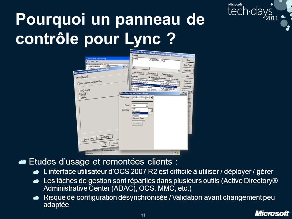11 Pourquoi un panneau de contrôle pour Lync ? Etudes d'usage et remontées clients : L'interface utilisateur d'OCS 2007 R2 est difficile à utiliser /