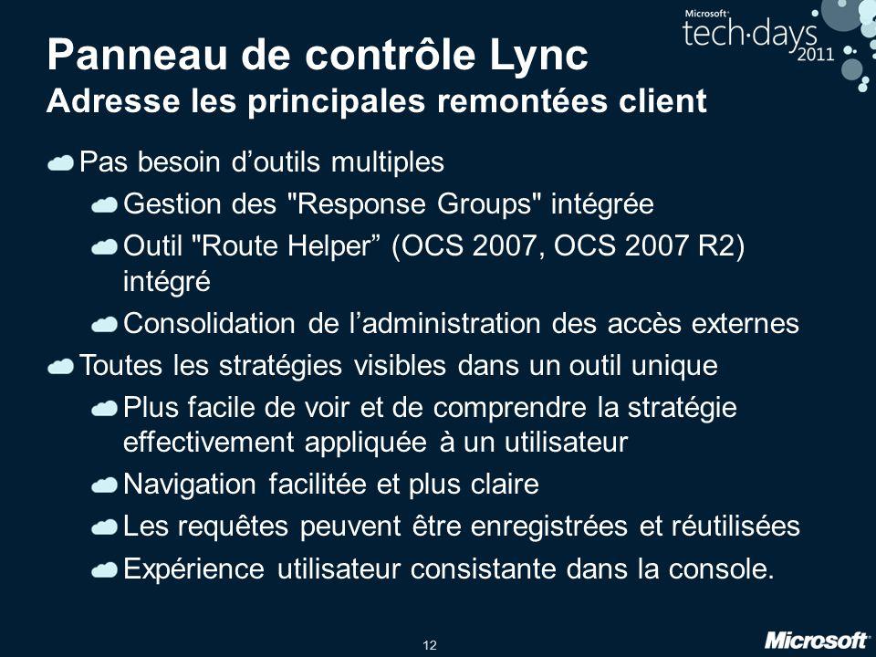 12 Panneau de contrôle Lync Adresse les principales remontées client Pas besoin d'outils multiples Gestion des