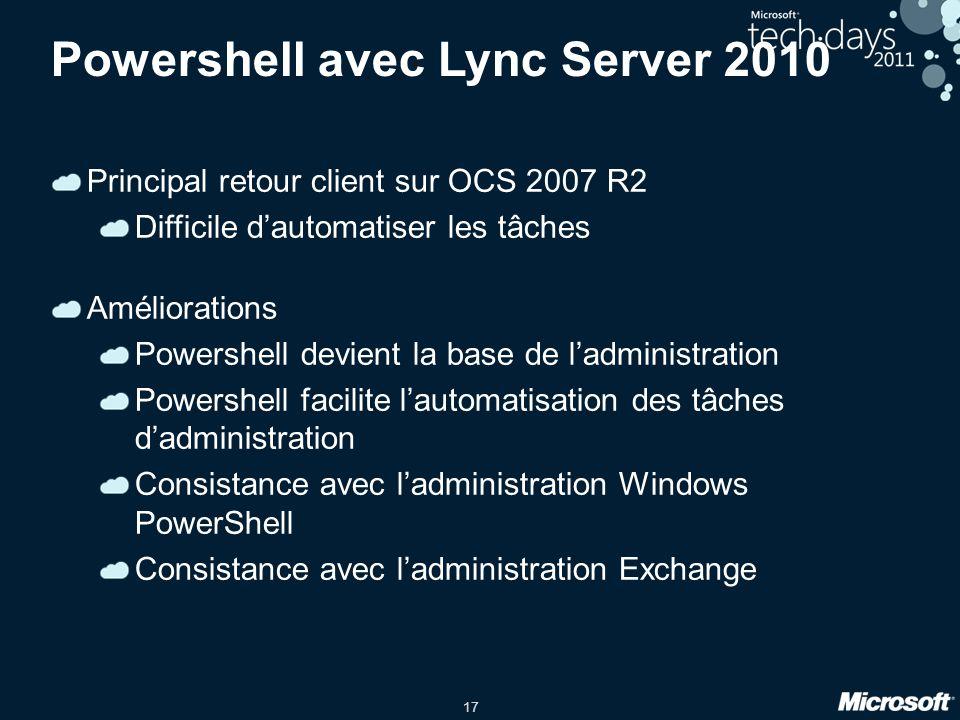 17 Powershell avec Lync Server 2010 Principal retour client sur OCS 2007 R2 Difficile d'automatiser les tâches Améliorations Powershell devient la bas