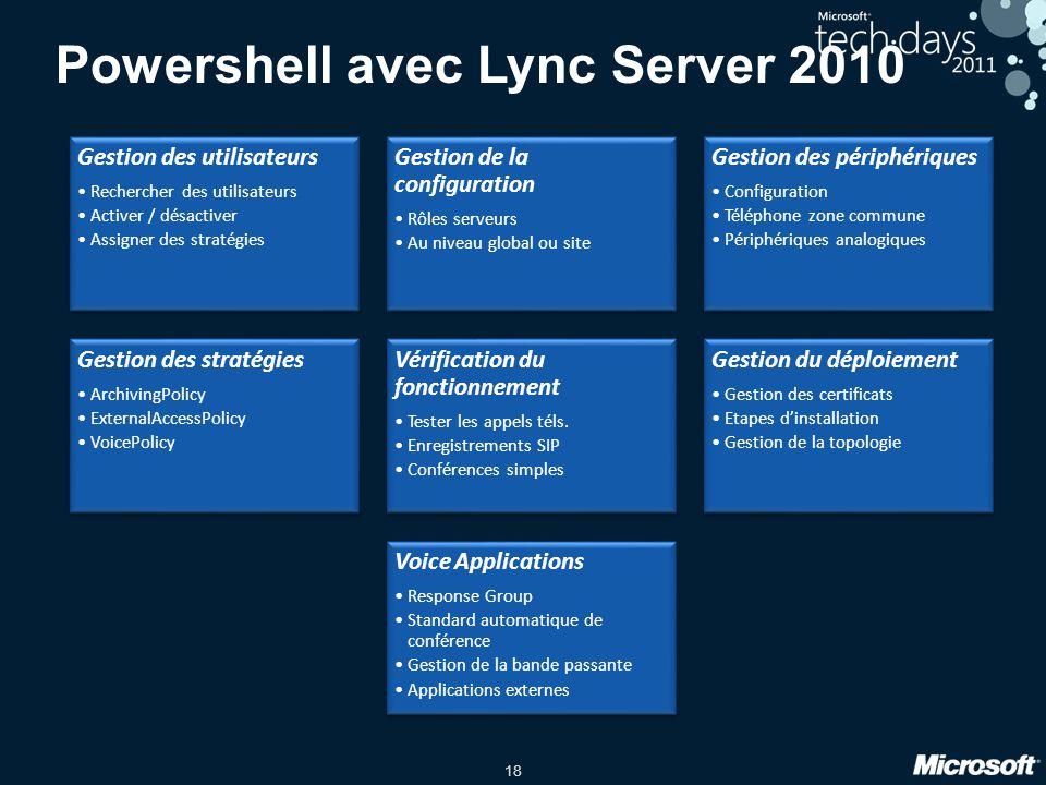 18 Powershell avec Lync Server 2010 Gestion des utilisateurs Rechercher des utilisateurs Activer / désactiver Assigner des stratégies Gestion de la co