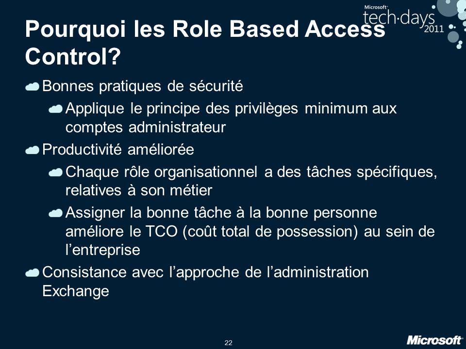 22 Pourquoi les Role Based Access Control? Bonnes pratiques de sécurité Applique le principe des privilèges minimum aux comptes administrateur Product