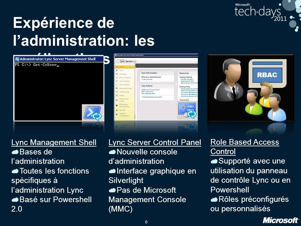 6 Expérience de l'administration: les améliorations Lync Management Shell Bases de l'administration Toutes les fonctions spécifiques à l'administratio