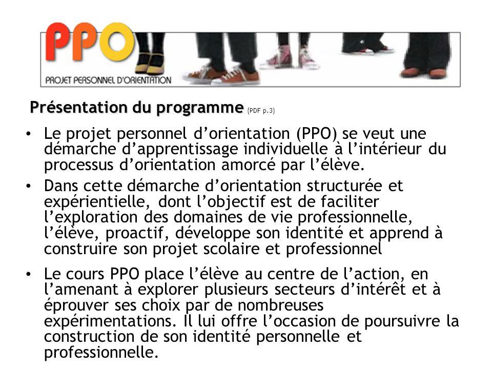 Le projet personnel d'orientation (PPO) se veut une démarche d'apprentissage individuelle à l'intérieur du processus d'orientation amorcé par l'élève.