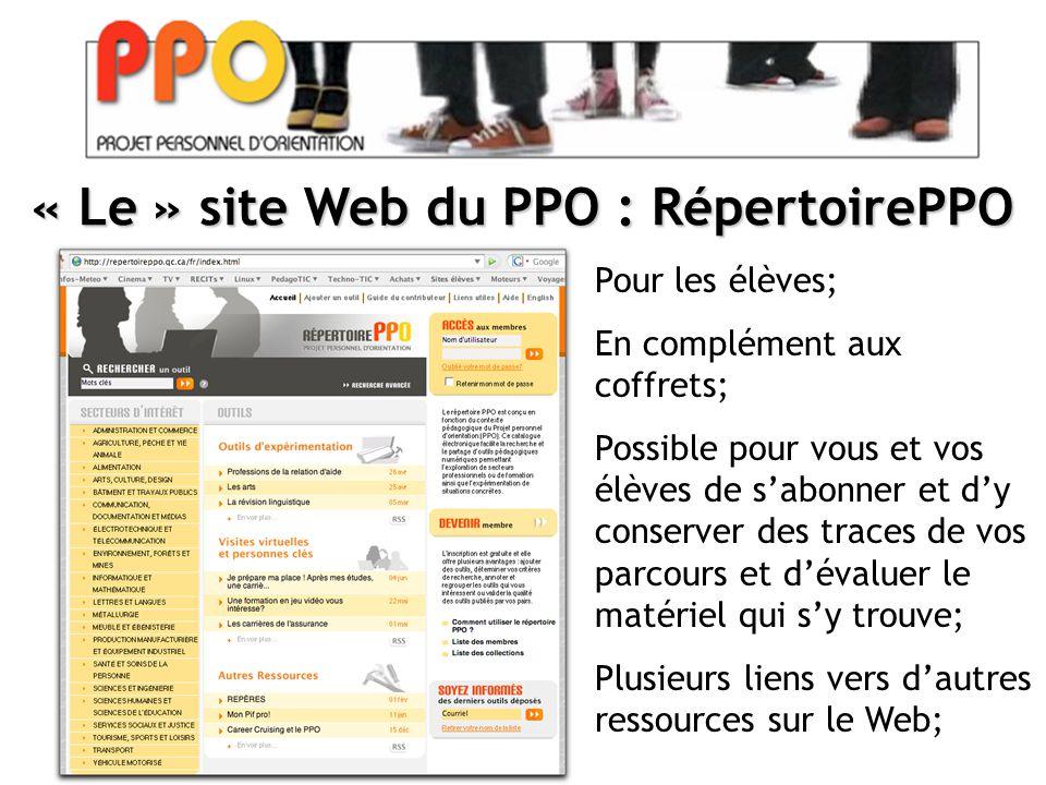 « Le » site Web du PPO : RépertoirePPO Pour les élèves; En complément aux coffrets; Possible pour vous et vos élèves de s'abonner et d'y conserver des traces de vos parcours et d'évaluer le matériel qui s'y trouve; Plusieurs liens vers d'autres ressources sur le Web;