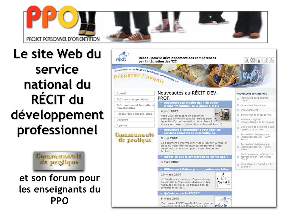 Le site Web du service national du RÉCIT du développement professionnel et son forum pour les enseignants du PPO
